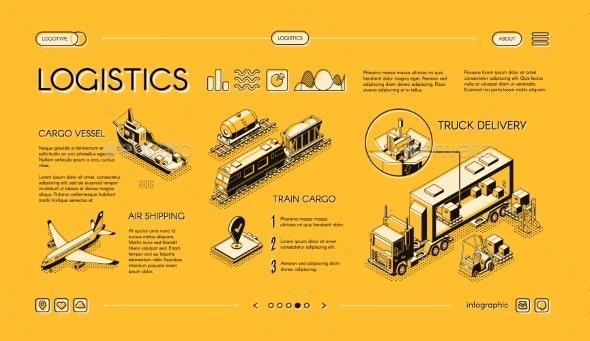 Commercial Cargo Transport Service Vector Website - Industries Business