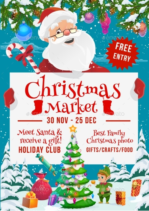 Santa and Elf with Gifts on Christmas Market - Christmas Seasons/Holidays