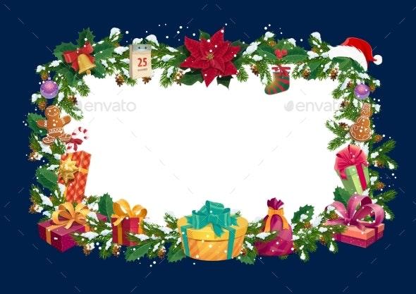 Christmas Winter Holiday Greetings Blank Frame - Seasons/Holidays Conceptual