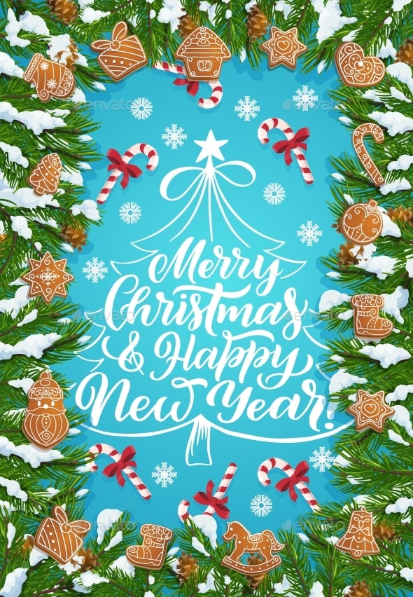 Christmas Tree, Winter Holiday Gingerbread Cookies - Seasons/Holidays Conceptual