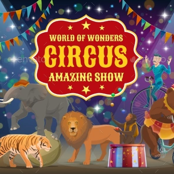 Trained Animals and Acrobat, Circus Show