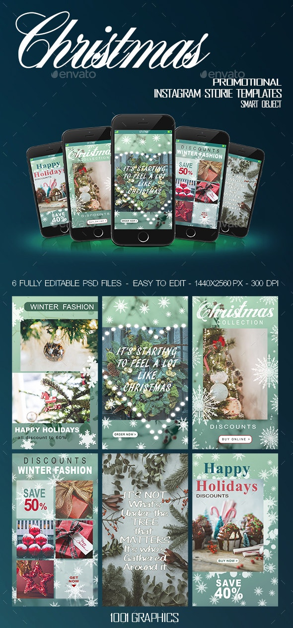 6 Christmas Instagram Stories Templates PSD - Banners & Ads Web Elements