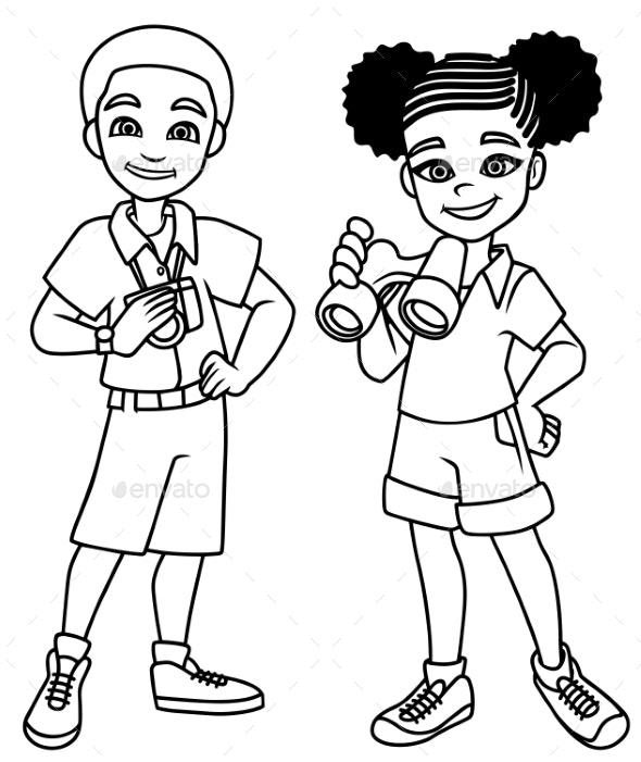 Adventure Kids Line Art - People Characters