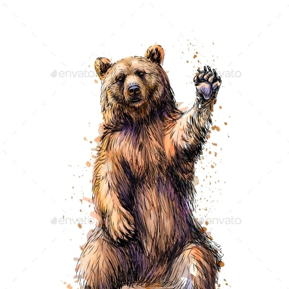 Friendly Brown Bear Sitting and Waving a Paw From
