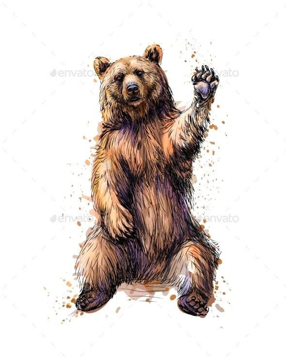 Friendly Brown Bear Sitting and Waving a Paw From - Animals Characters