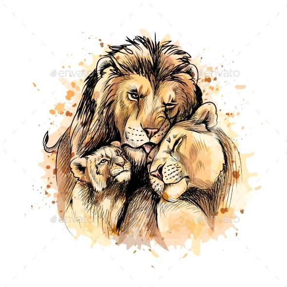Family of Lions From a Splash of Watercolor - Animals Characters