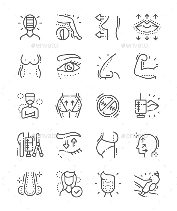 Plastic Surgery Line Icons - People Characters