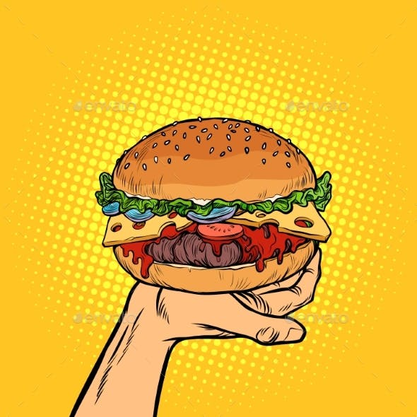 Burger on Hand. Fast Food