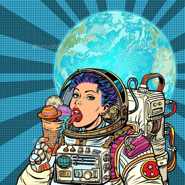 Woman Astronaut Eats Planets of the Solar System - Technology Conceptual