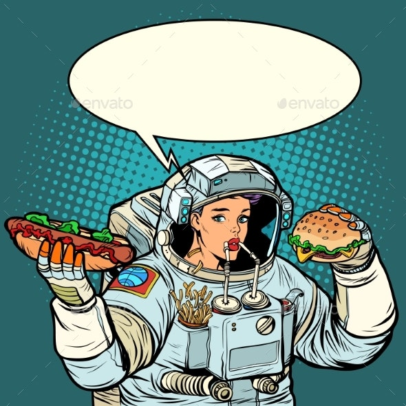 Pop Art. Woman Astronaut Eats. Cola, Hot Dog and - Food Objects