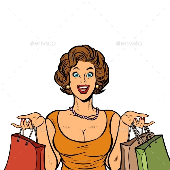 Woman Shopping on Sale. Isolate on White - People Characters
