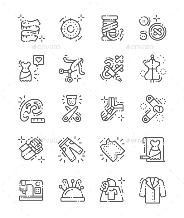 Sewing Line Icons - Miscellaneous Icons