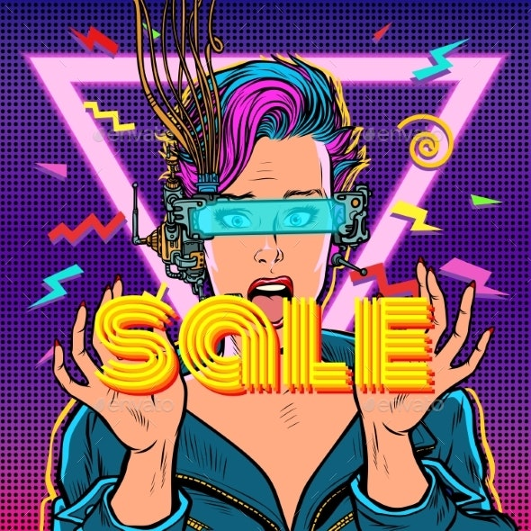 Sale. Online Shopping. Surprised Woman in Virtual - Business Conceptual