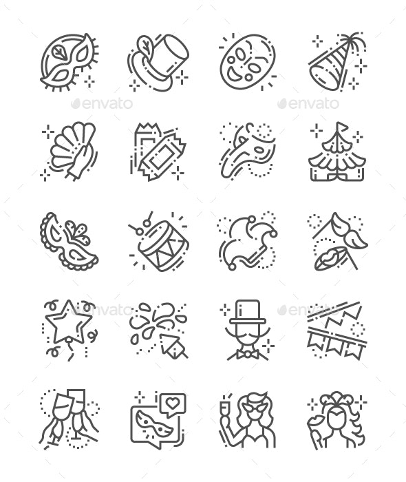 Carnival Line Icons - People Characters