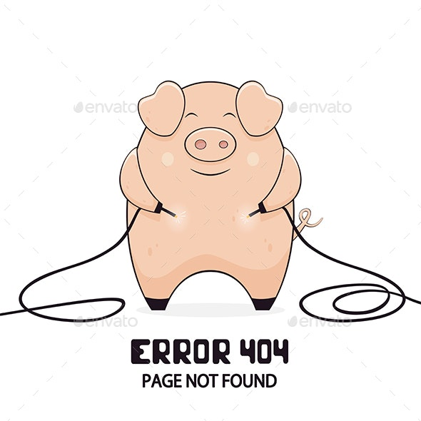 Pig and Error 404 - Animals Characters