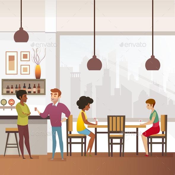 Restaurant, Bar or Pub Full of Clients Flat Vector