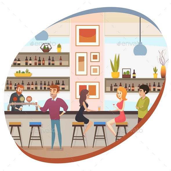 People Drinking Alcohol in Bar or Pub Flat Vector - Business Conceptual
