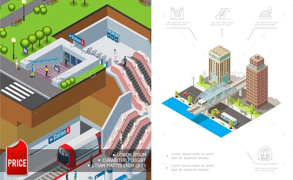 Isometric City Metro Concept - Buildings Objects