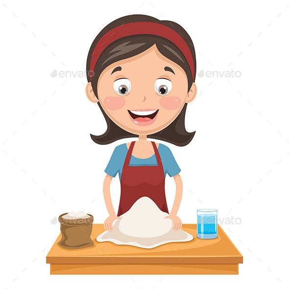Vector Illustration Of Woman Kneading Dough - Food Objects