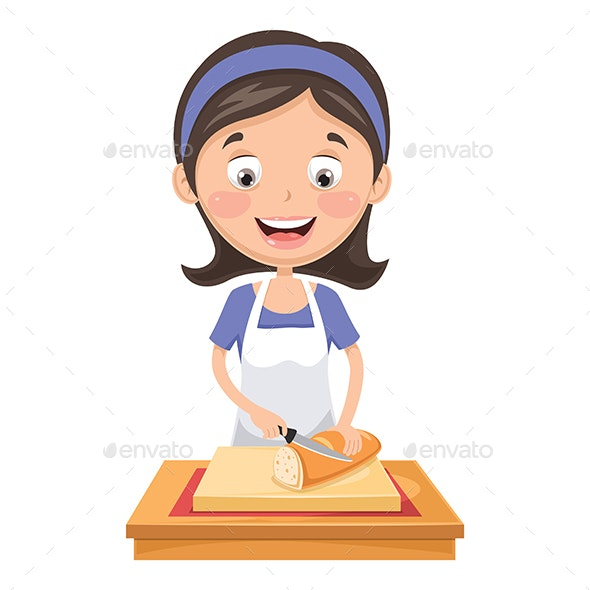 Vector Illustration Of Woman Cutting Bread - Food Objects