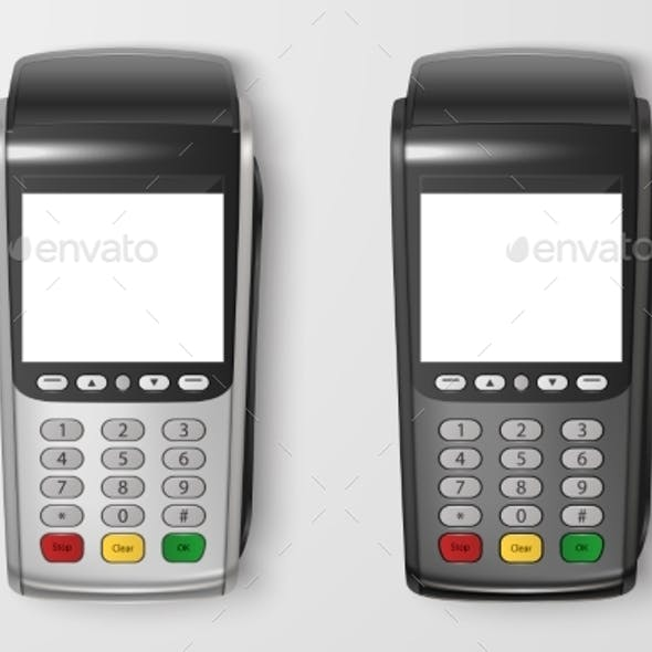 Vector Realistic Payment Machine Set POS