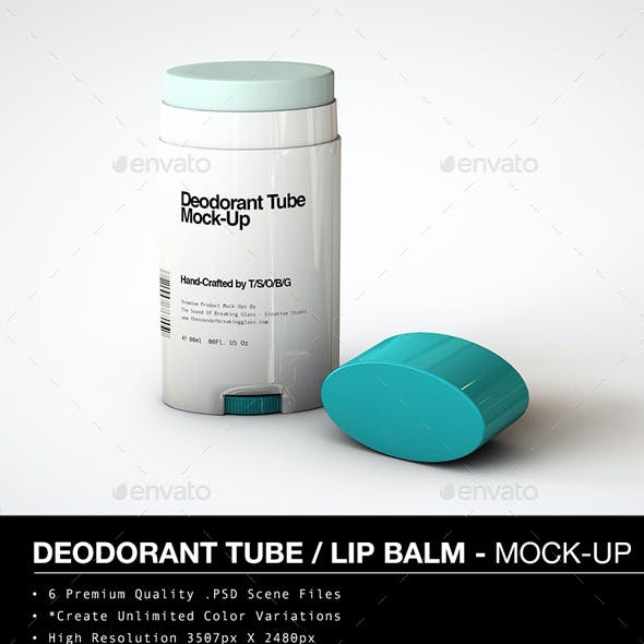 Deodorant Stick | Oval Lip Balm Tube Mock-Up