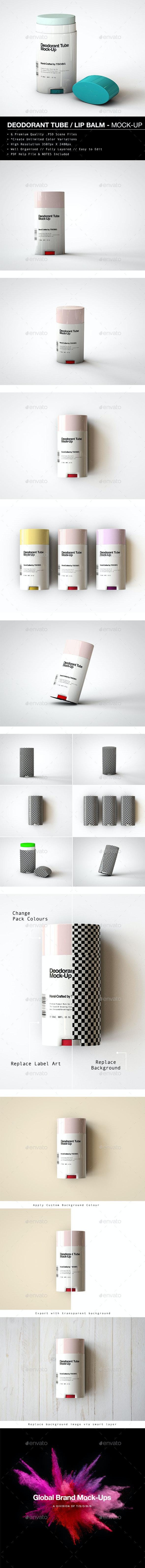 Deodorant Stick | Oval Lip Balm Tube Mock-Up - Beauty Packaging