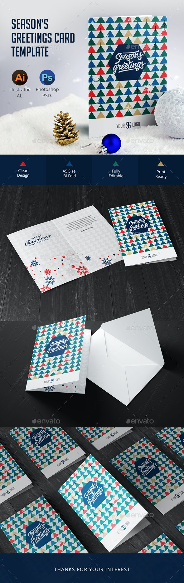 Season's Greetings Card Template - Greeting Cards Cards & Invites