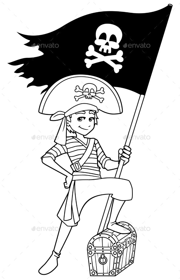 Pirate Boy Line Art - People Characters