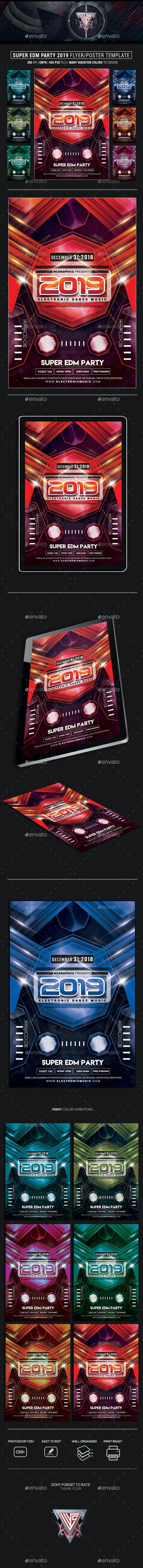 Super EDM Party 2019 Photoshop Flyer Template - Flyers Print Templates