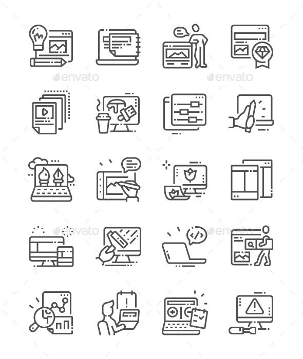 Web Design Line Icons - Web Icons