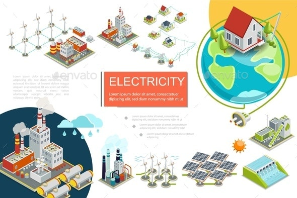 Isometric Electricity Infographics - Industries Business