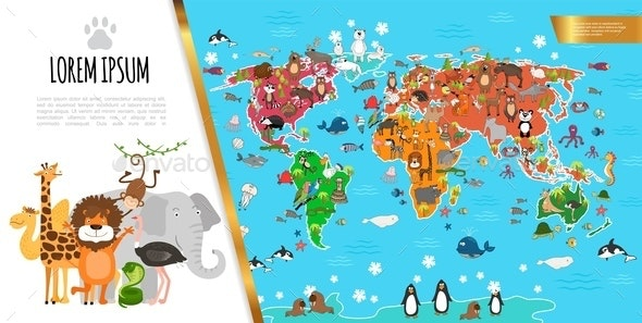 Flat Fauna World Map Composition - Animals Characters