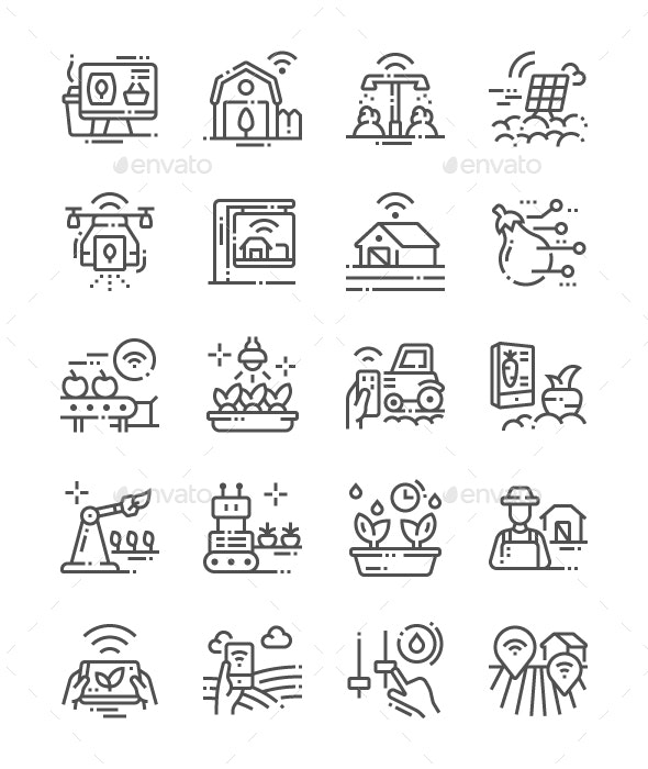Smart Farm Line Icons - Technology Icons