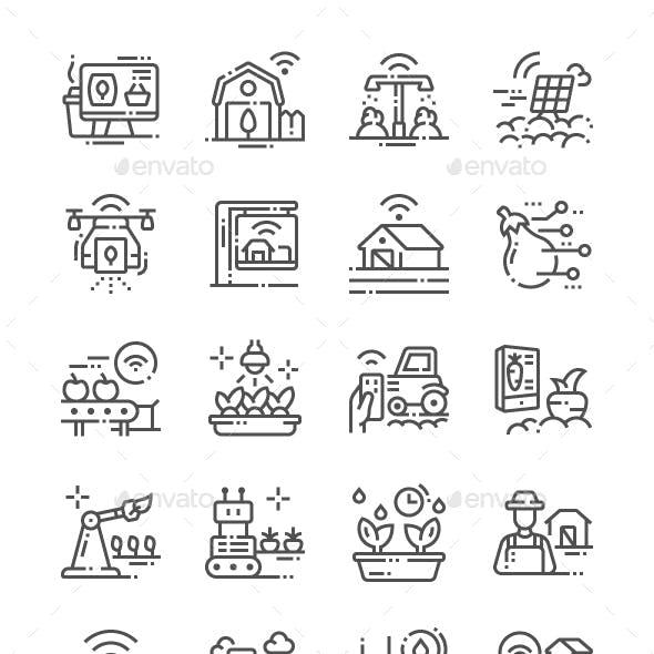 Smart Farm Line Icons