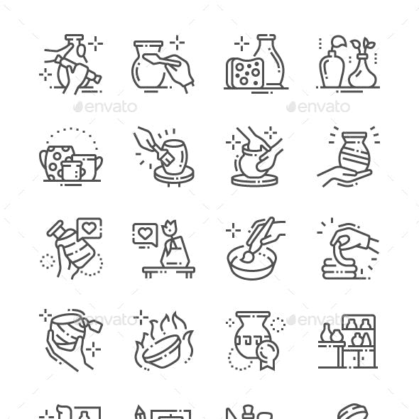 Pottery Production Line Icons