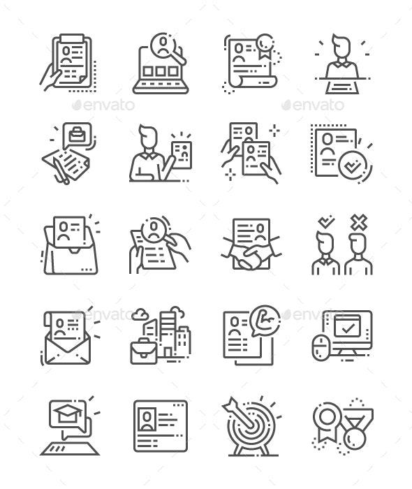 Job Resume Line Icons - Business Icons