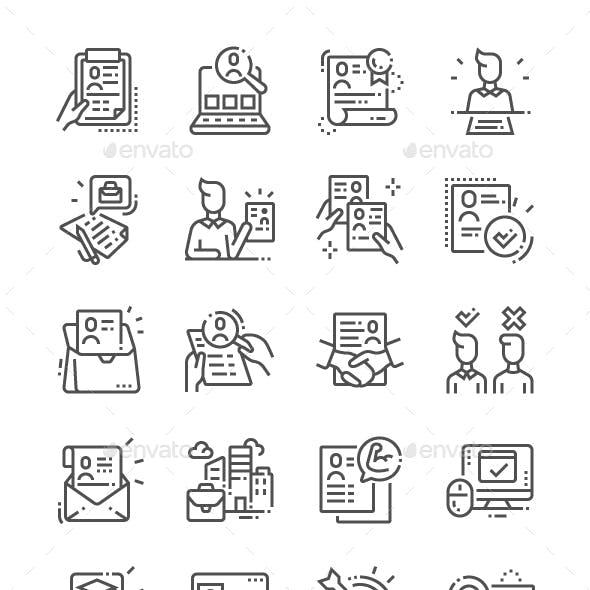 Job Resume Line Icons