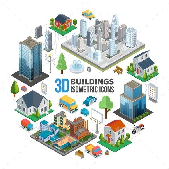 Isometric City Landscape Round Concept - Buildings Objects