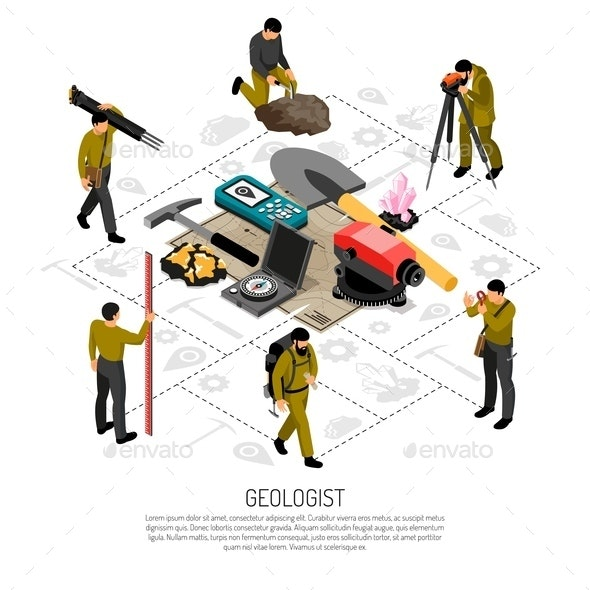 Geologist Isometric Composition - Backgrounds Decorative