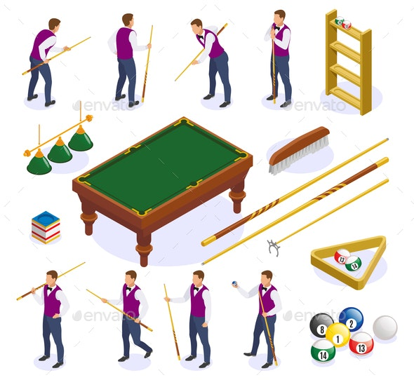 Billiards Isometric Icons Collection - Sports/Activity Conceptual