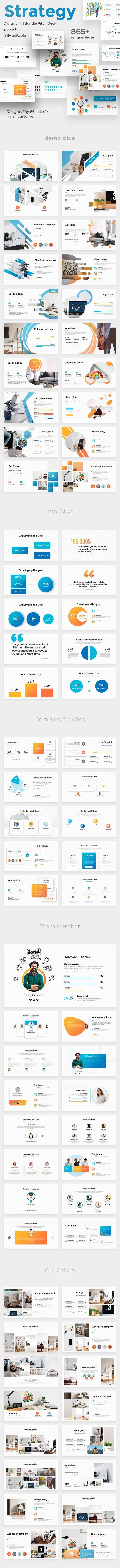 Digital Strategy 3 in 1 Pitch Deck Keynote Bundle Template - Business Keynote Templates