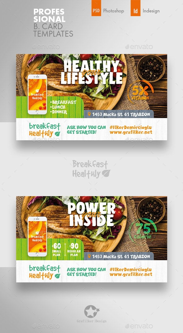 Healthy Food Business Card Templates - Corporate Business Cards