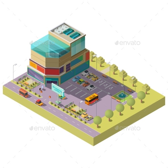 Vector Isometric Shopping Center with Parking Area - Buildings Objects