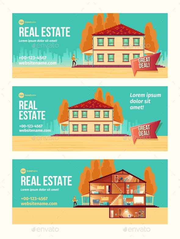 Real Estate Object Cartoon Vector Ad Banner - Business Conceptual
