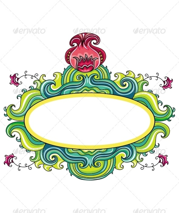 Floral Curly Frame (Floral Series) - Characters Vectors