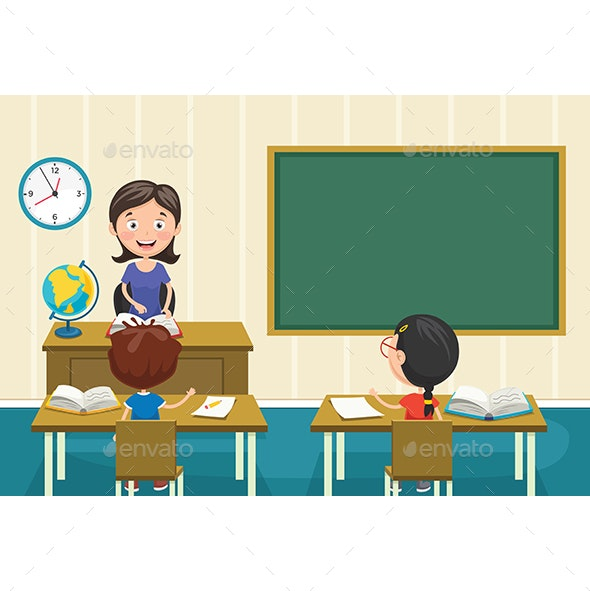 Vector Illustration Of A Teacher Teaching - People Characters