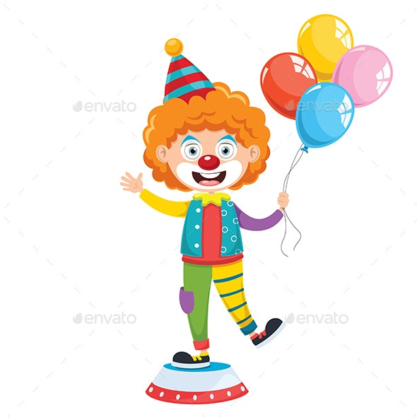 Vector Illustration Of Funny Clown - People Characters
