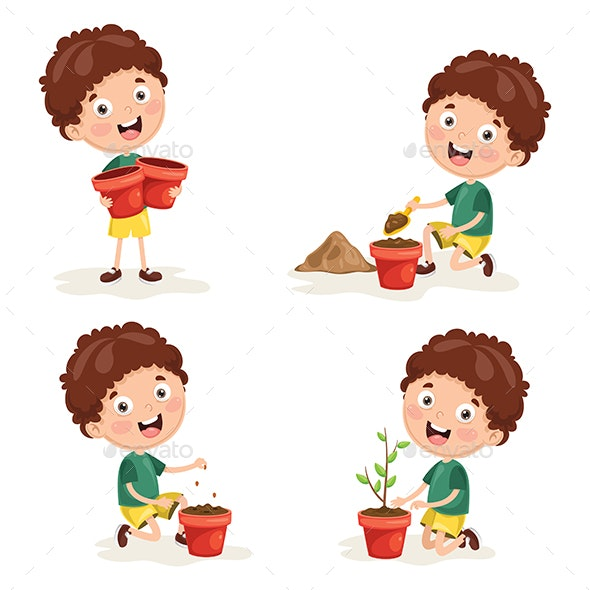 Vector Illustration Of Kids Planting - People Characters