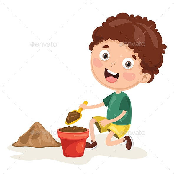 Vector Illustration Of Kids Planting - Organic Objects Objects